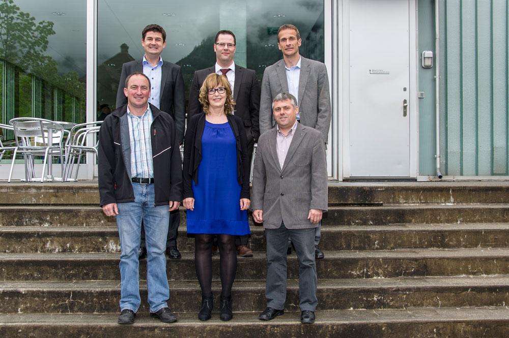 Verwaltungsrat der KW Bristen AG: (Obere Reihe – von links) Jörg Wild, Werner Jauch, Rolf Müller (Untere Reihe – von links) Wendelin Loretz, Margrit Furrer, Rolf Infanger