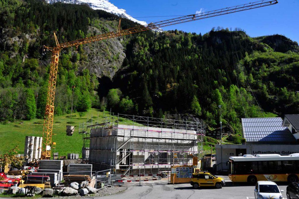 Bau der Kraftwerkzentrale in Bristen